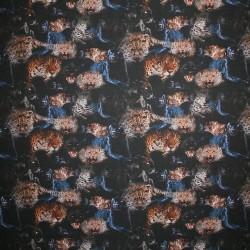 Rest Viscose/lycra m/digitalt print med panter og leopard- 45 cm.