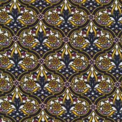 Afklip Viscose/lycra med cirkel mønster og blomst i gul, 100 cm.