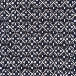 Afklip Viscose/lycra med rude-mønster i marine hvid og sand- 100 cm.