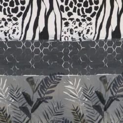 Jersey i Viscose/lycra digitalprint i striber i hvid sort grå-grøn