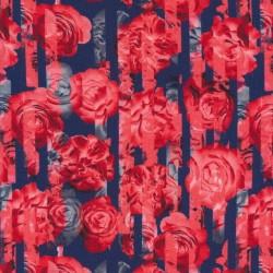 Jersey i Viscose/lycra digitalprint med strib og roser i støvet blå og rød