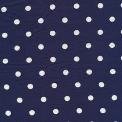 Viscose/lycra med prikker i mørkeblå og hvid