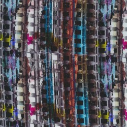 Jersey i Viscose/lycra digitalprint med stribe/firkant mønster