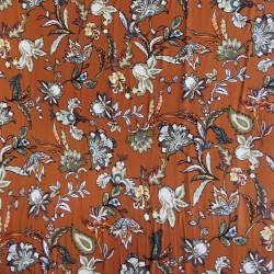 Jersey i Viscose/lycra digitalprint med blomster i brændt orange