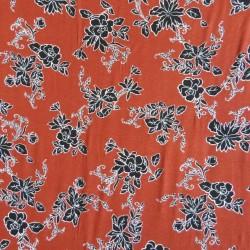 Jersey i Viscose/lycra digitalprint med blomster i rust