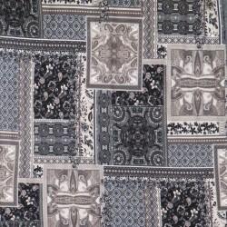 Viscose jersey med mønster i firkanter i sort pudder-brun grå