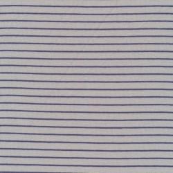 Rest Viskose jersey i lysegrå med smal støvet blå strib- 95 cm.