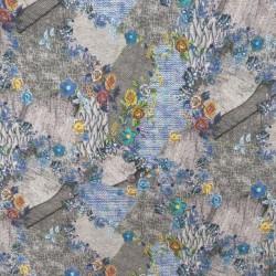 Jersey i Viscose/lycra digitalprint strik look med blomster