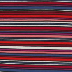 Afklip Viskose jersey med striber i rød, blå sort rosa- 80 cm.