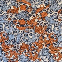 Viskose jersey med antik blomst i offwhite denim støvet orange