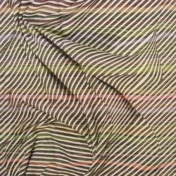 Jersey i Viscose/lycra digitalprint stribet med stof folder i lime brun rust