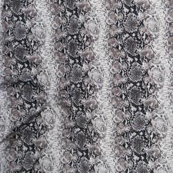 Afklip Viscose jersey med slangeprint i hvid pudder-brun og sort 100 cm.
