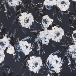 Jersey i Viscose/lycra digitalprint støvet blå med blomster