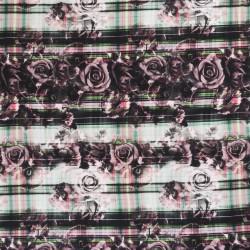 Jersey i Viscose/lycra digitalprint med roser og tern i sort pudder grøn