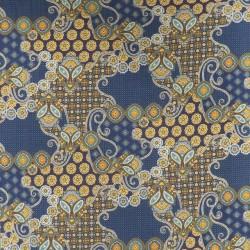 Viscose jersey stormønstret i blå carry brun