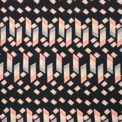 Jersey i Viscose/lycra digitalprint i sort med cube i rosa