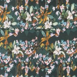 Jersey i Viscose/lycra digitalprint i petrolgrøn med blomster