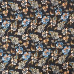 Jersey i Viscose med blomster i sort petrol brun