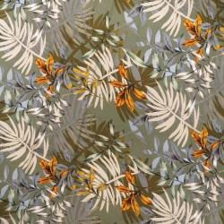 Jersey i Viscose med blade i lys oliven orange beige