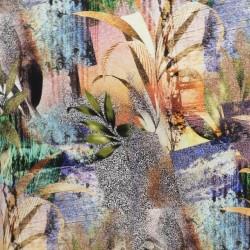 Jersey i Viscose/lycra digitalprint multifarvet med blade