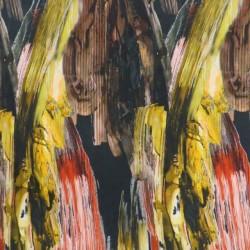 Jersey i Viscose/lycra digitalprint mønstret i sort rød gul