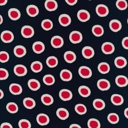 Rest Viscose Jersey digitalprint i marine med prikker- 55 cm.