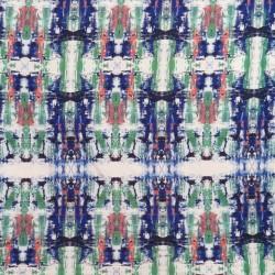 Afklip Viscose elasthan mønstret i hvid grøn kobolt orange, 100 cm.