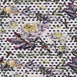 Viscose Jersey i hvid med blomster og sorte prikker