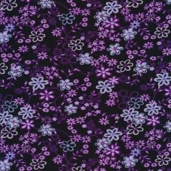 Viscose jersey i sort med lilla blomster
