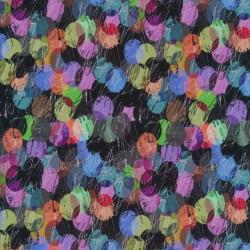 Viscose Jersey digitalprint i sort med farvede prikker