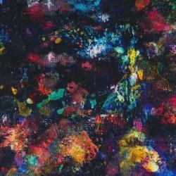 Viscose Jersey digitalprint i sort med multi-farvede pletter