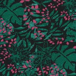 Jersey i Viscose/lycra med blade, i sort, flaskegrøn, mørk rosa
