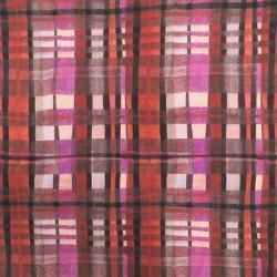 Afklip Viscose Jersey med tern i rød, pink, brun, laks, 100 cm.
