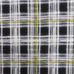 Afklip Viscose Jersey med tern i sort, lysegrå, carry, 100 cm.