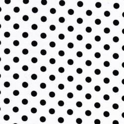 Bomuld/lycra økotex m/prikker, hvid/sort