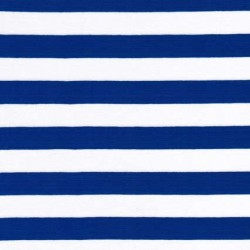 Stribet øko-viscose/lycra, koboltblå/hvid, 18 mm.