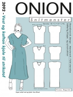 Onion 2092 -Vest og kaftan kjole til strikstof