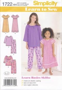 Simplicity 1722 Nattøj og natkjole til piger