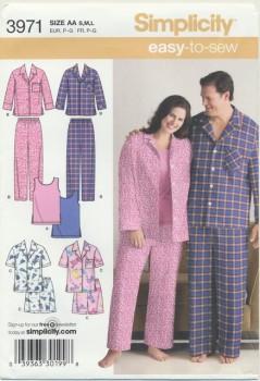 Simplicity 3971 Nattøj/pyjamas herre/dame