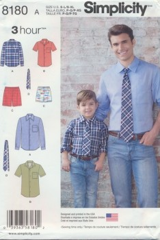 Simplicity 8180 Drenge/herre skjorte/slips