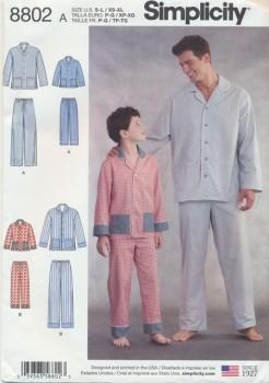 Simplicity 8802 Pyjamas til herre og dreng