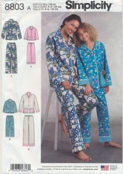 Simplicity 8803 Pyjamas til dame og pige