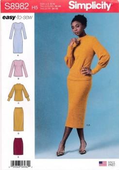 Simplicity 8982 Kjole bluse og nederdel til strikstof