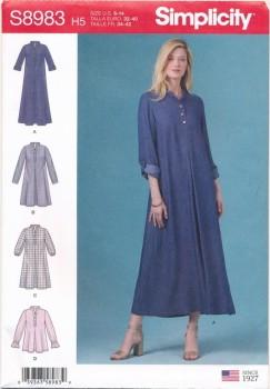 Simplicity 8983 Skjorte Kjole og bluse med stå-krave til fast stof