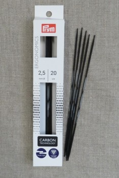 Prym strømpepinde ergonomiske i Carbon str. 2½