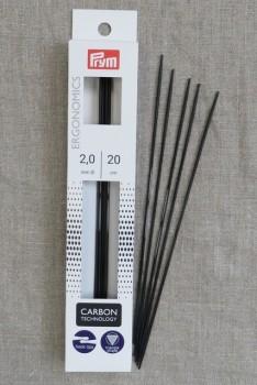 Prym strømpepinde ergonomiske i Carbon str. 2