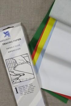 Karbon-/kalkerpapir 5 ark i hvid rød blå grøn og gul