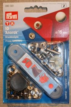 Anorak trykknapper, sølv