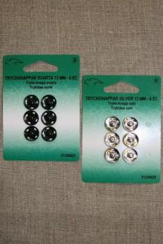 Tryklåse 13 mm. Sort og sølv