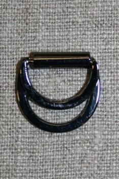 D-ring/spænde dobbel gun-metal, 15 mm.